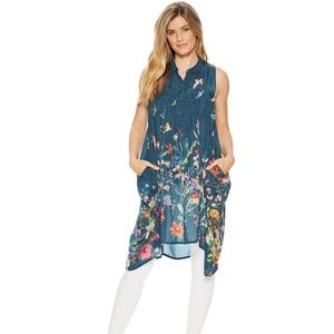 Johnny Was XS Summy Floral Long Tunic Boho Casual